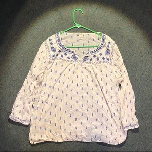 Lucky Brand Paisley Cream and Blue Blouse